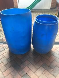Two blue water butts. £5 each
