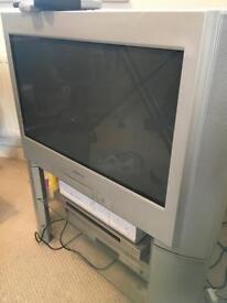 """Sony 28"""" Digital Trinitron KD-28DL10U TV with 2 glass shelf stand"""