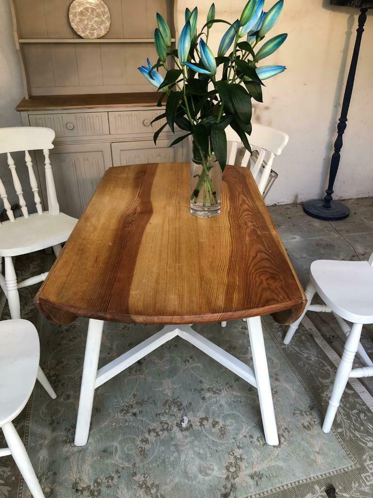 Super Ercol Style Vintage Pine Drop Leaf Kitchen Dining Table And Chairs In Bournemouth Dorset Gumtree Download Free Architecture Designs Licukmadebymaigaardcom