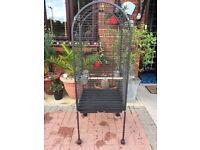 Gun metal grey parrot cage. Height 148cm Width 57cm