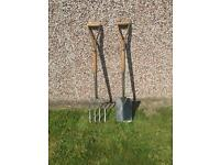 Stainless steel garden digging fork and spade
