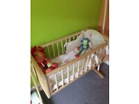 Mothercare cot, bumper, and coverlet