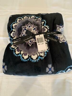 VERA BRADLEY - Throw Blanket - CHARCOAL MEDALLION  - NEW W/ -
