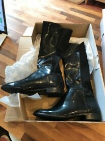 Womens La Redoute Black Boots with neoprene back halve - riding or 'kinky' boots