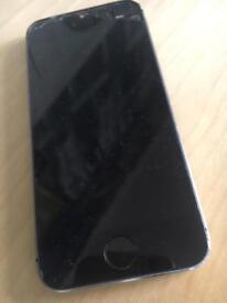IPhone 5S , UNLOCKED , black 16 GB, broken glass