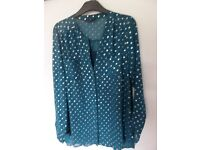 Teal M & S Long Blouse and Camisole Size 14