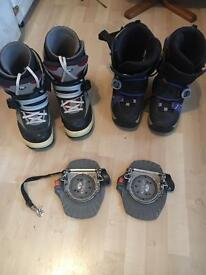 Snowboard boots x2 with step in bindings