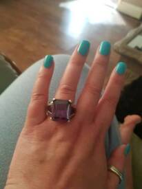 Heavy Sterling silver ring with huge purple stones