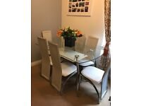 White / Glass dining table
