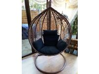Brand new pod and swing: rattan style ,with cushions