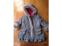 NEW Catimini baby coat with labels. Black and white with fur. Size 6 months.