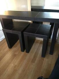 Faux leather console table and side tables to match