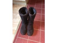 Chocolate brown suede slipper boots UK size 7