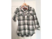 SuperDry green/white checked shirt size S