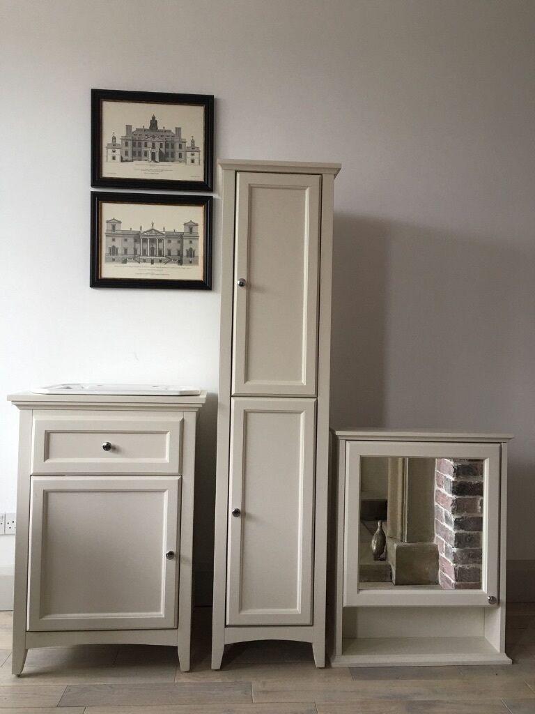 Bathstore Savoy Bathroom Suite White Wooden Vanity Unit, Mirror Cabinet,  Unit