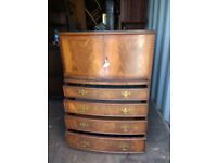 Glass topped chest of drawers