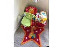 Nursery cot bed set and bouncy chair