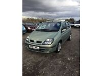 03 reg Renault megane scenic in vgcondition 1 yrs mot in rare metallic green sporty interior