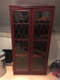 Display Cabinet - glass fronted mahogany look