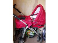 Red pram/pushchair for sale