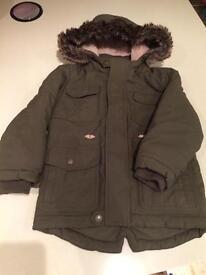 M&S Boys hooded winter coat Age 3-4 yrs Khaki
