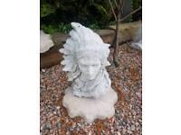 Concrete Big Chief Indian Head Garden Ornament