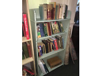 Appealing Traditional Vintage Slim Painted Wooden Beaded Open Bookcase - Four Shelves