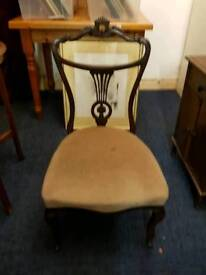 Antique Low Seating Ornate Bedroom / Hall Chair