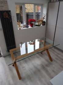Habitat 6 seater oak and glass dining table