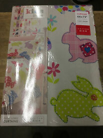Catherine Lansfield Kids Bunnies Eyelet Lined Curtains, Multi, 66 x 72 Inch