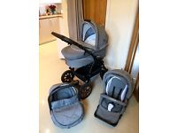 Grey pram/travel system. Includes car seat. Great Cond.