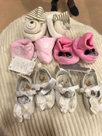 5 pairs baby 0-6 months shoes/ slip ons