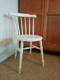 Painted white solid oak chair