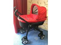 BABYSTYLE S3D PRAM PUSHCHAIR CAR SEAT RED WITH ACCESSORIES