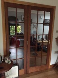 Dark wood glass door and panel