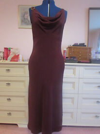 Pearce Fionda (Debenhams) Burgundy Strappy Evening Designer Dress Size 14 Excellent Condition