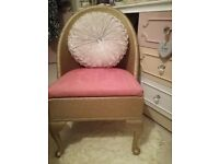 Beautiful vintage Lloyd loom gold and pink chair with storage and matching bedside cabinet from £25