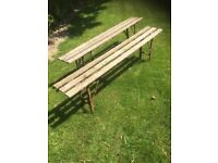 Pair of Industrial Trestle Benches