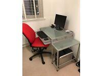Home office desk, chair & cupboard