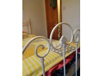metal single bed frame in white x 2
