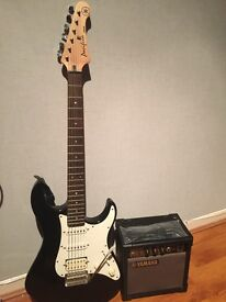 Yamaha Pacifica electric guitar and amplifier