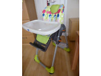 Chicco HIghchair. Bright colours. Adjustable sitting position. Good condition. £20