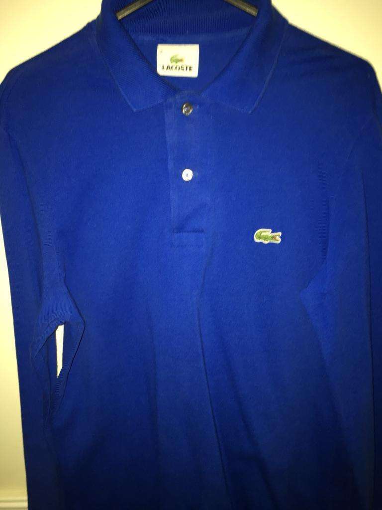 39cd46cb ... closeout lacoste mens royal blue long sleeve polo t shirt size 2 100  genuine fde0f 3a7f3