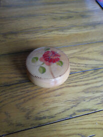 Turned wooden box, flower patterned
