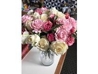 Large solid glass column cylinder vase & 50 silk rose flower bouquet wedding decorations arrangement