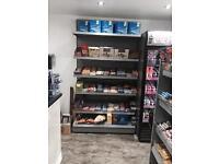 Shop shelving and Fridge