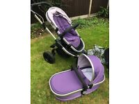 iCandy Peach Jogger Pram & Pushchair in Mulberry with Car Cradle, Easy Fit Isofix Base & EXTRAS !