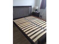 Dark wood king size bed frame