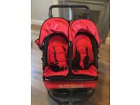 Out 'N' About Nipper V4 Double Pushchair Buggy, Red