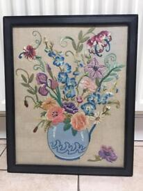 Beautiful antique floral tapestry picture in ebony wood frame